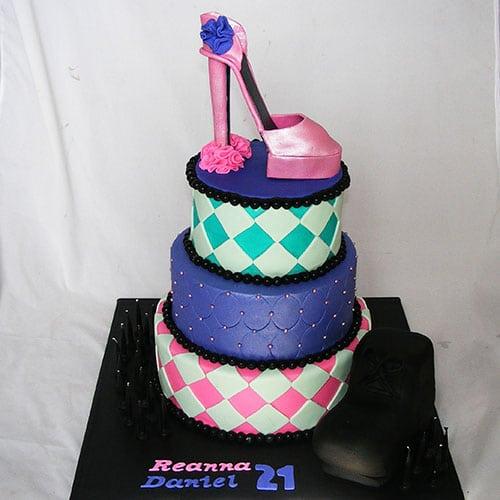 Three-Tiered Cake Decorated