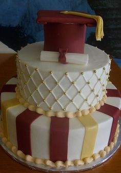 Two Tier Graduation Cake