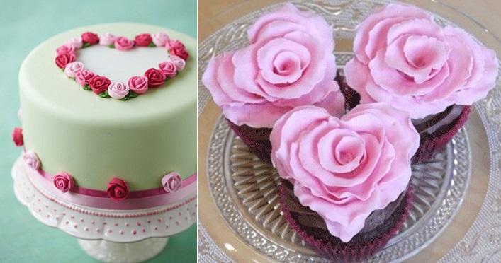 6 Photos of Valentine Rose Cakes