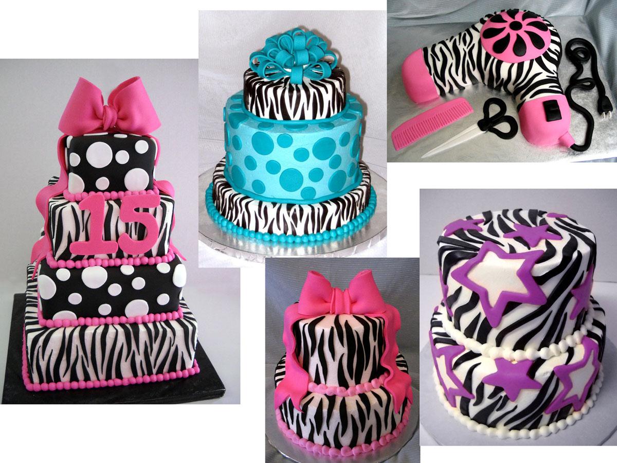 Zebra Pattern Birthday Cake