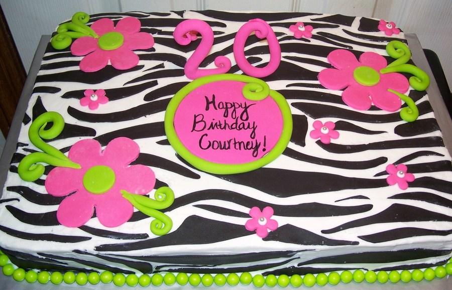 Zebra Print Birthday Sheet Cake