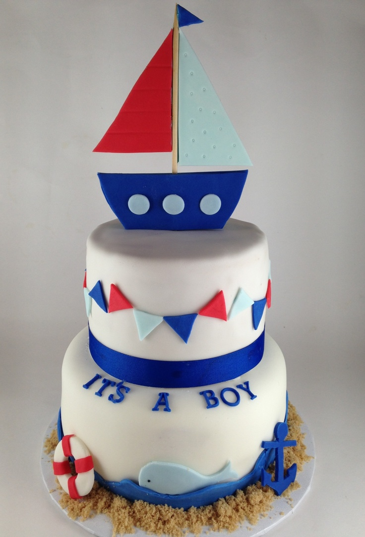 Anchor Nautical Baby Shower Cake