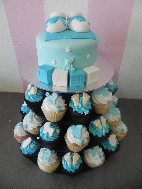 Baby Boy Shower Cupcake Tower Cake