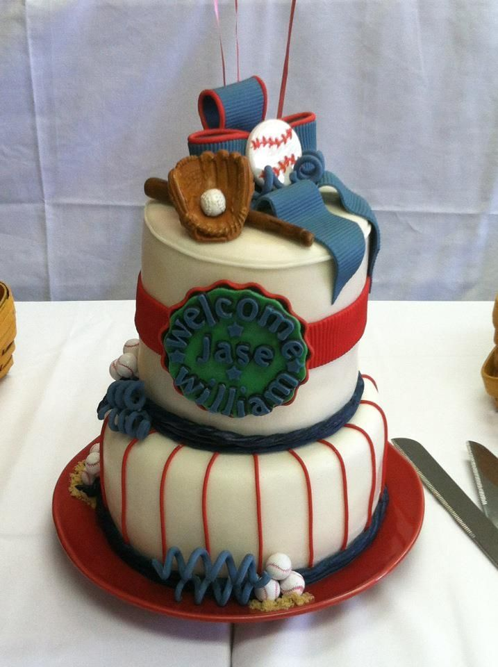 12 Photos of Baby Shower Cakes Baseball Field Pictures