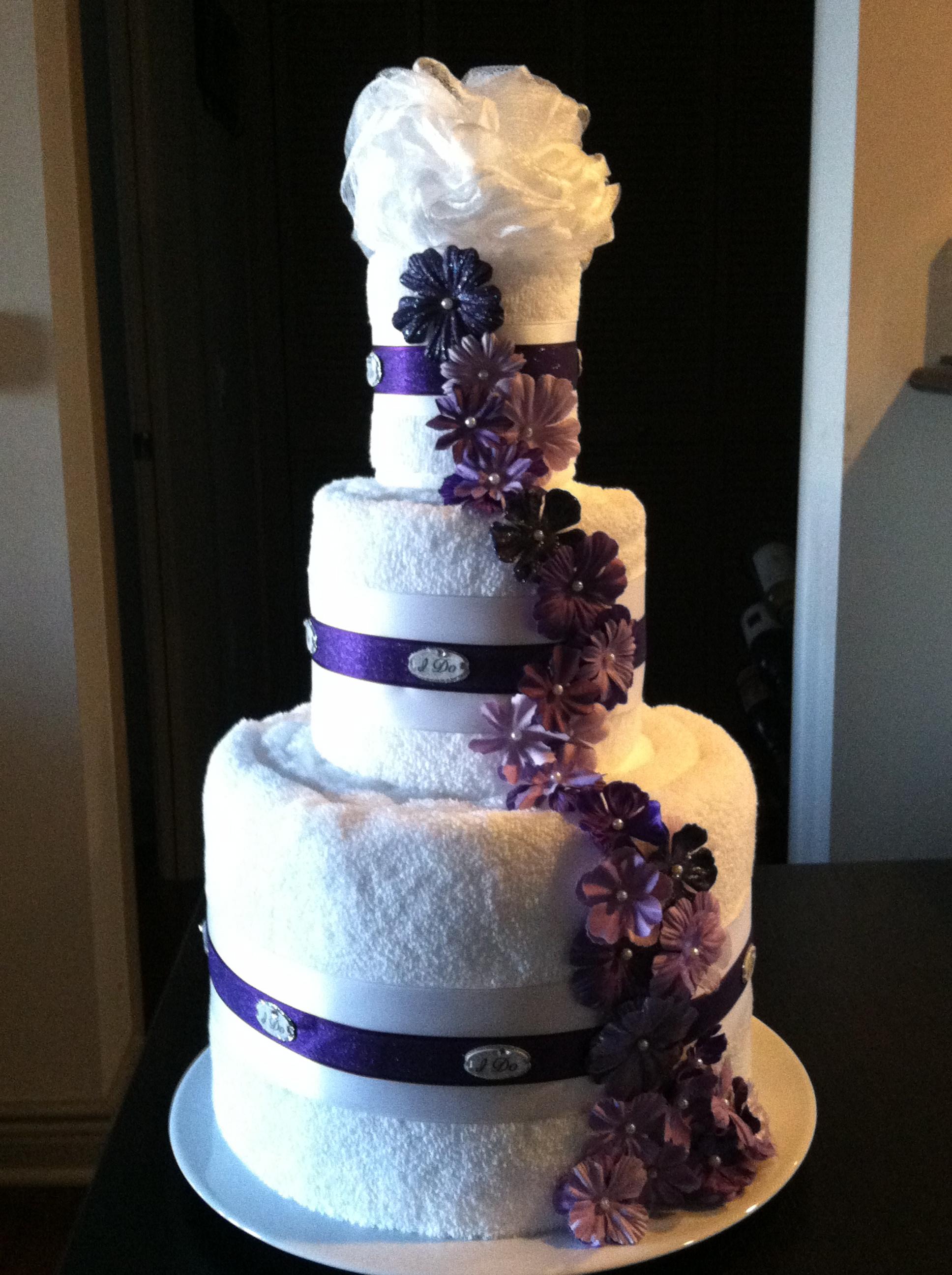 Bath Towel Wedding Cake for Bridal Shower