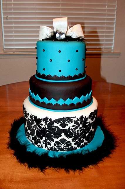 Black and Teal Birthday Cake