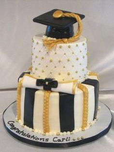Black and Yellow Graduation Cake