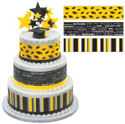 Black and Yellow Graduation Sheet Cakes