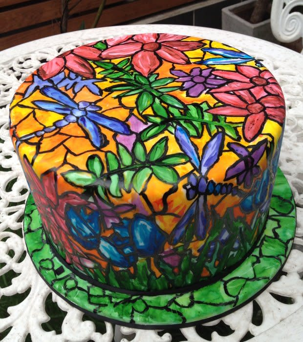Dragonfly Stained Glass Cake