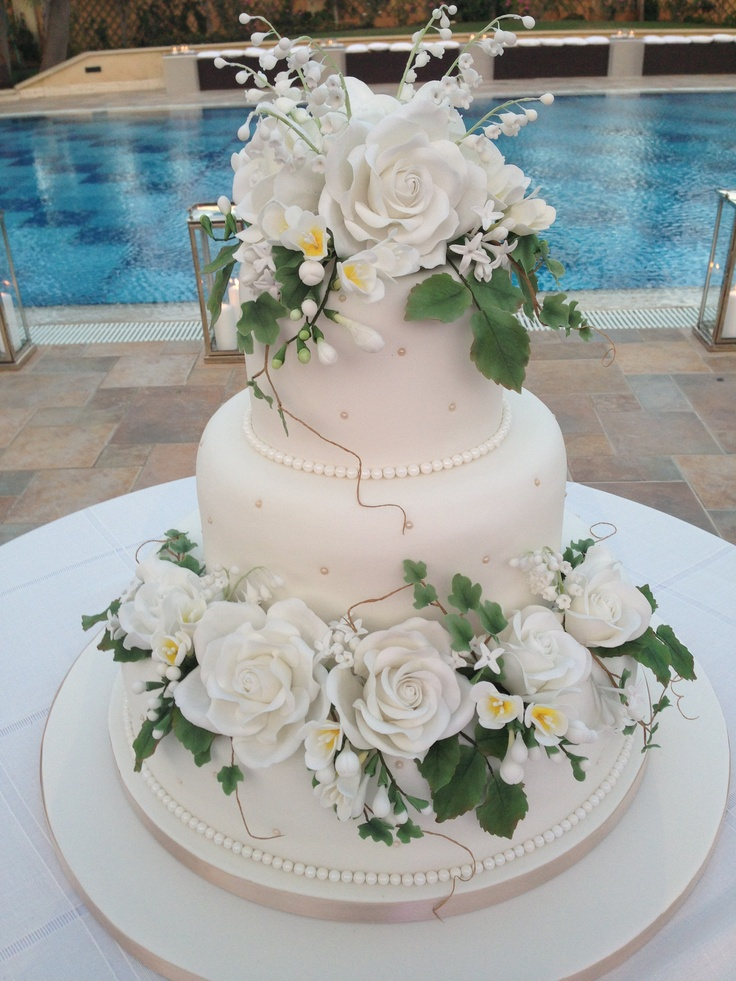 Edible Sugar Flowers Wedding Cake