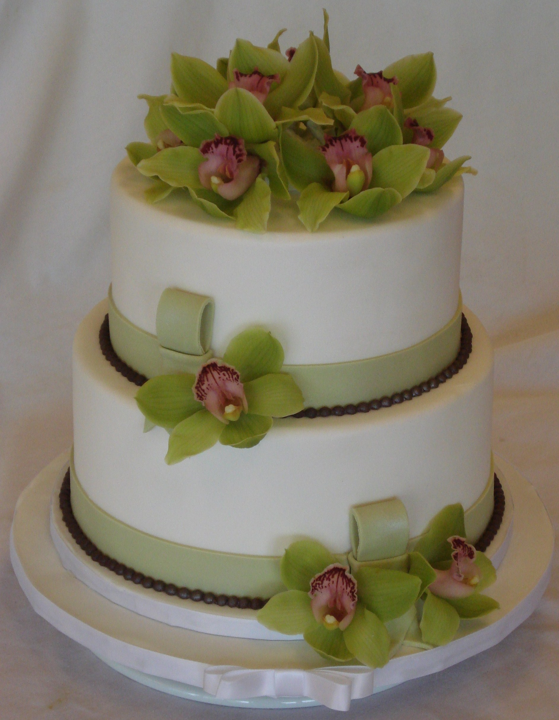 Elegant Birthday Cake with Orchids