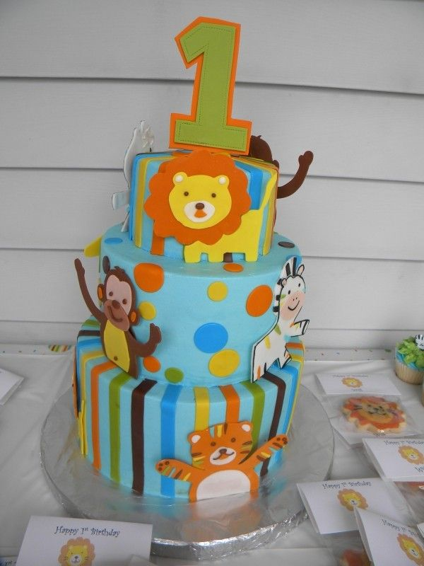 First Birthday Cake Jungle Animals