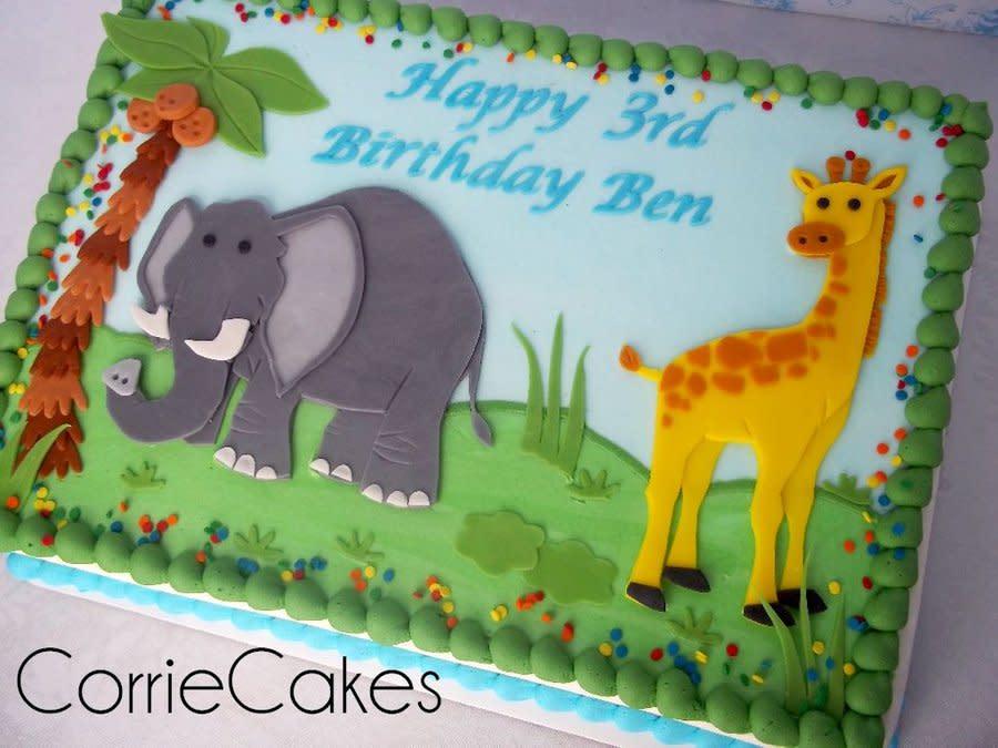 Giraffe Birthday Sheet Cake