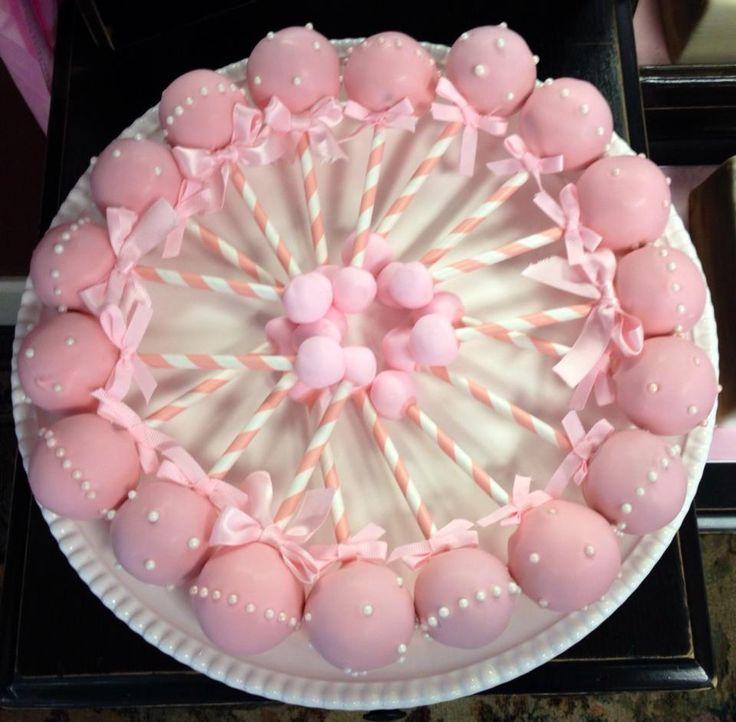 Girl Baby Shower Rattle Cake Pops