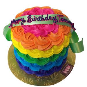 Girls Birthday Cake Rainbow Flowers