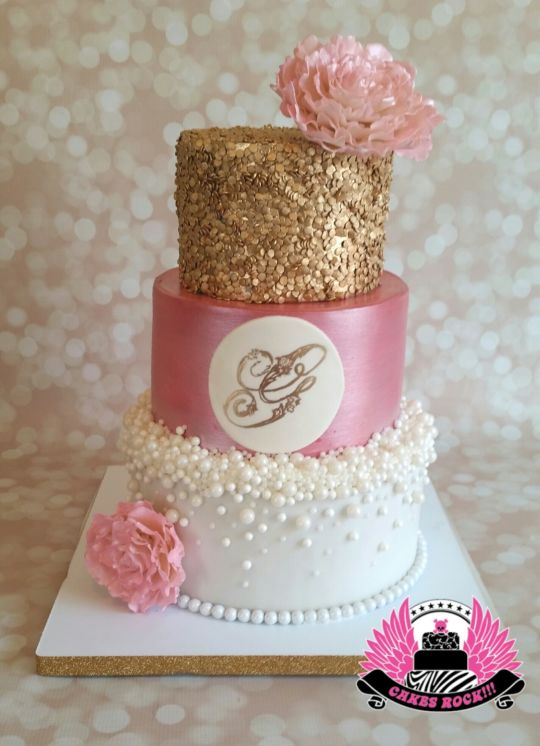 Gold and Pink Baby Shower Cake