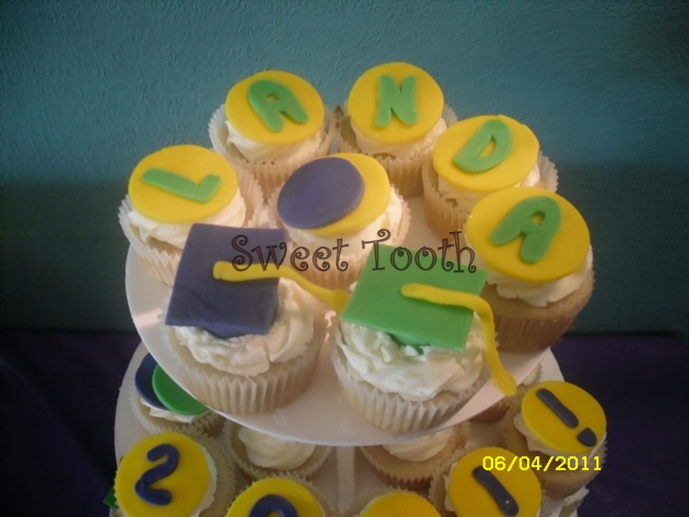 Green and Yellow Graduation Cupcakes