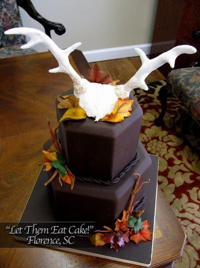Grooms Cake with Deer Antlers