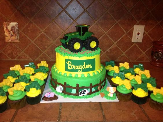 John Deere Birthday Cake and Cupcakes