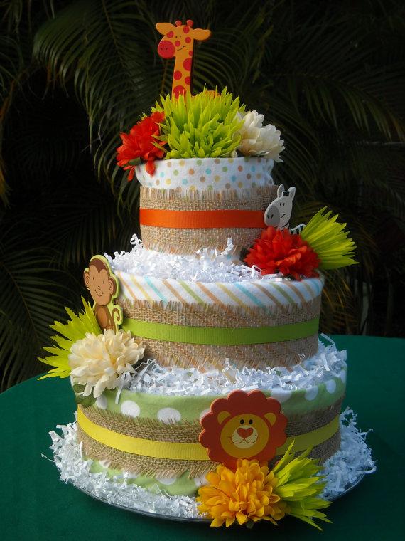 9 Photos of Jungle Safari Mini Diaper Cakes