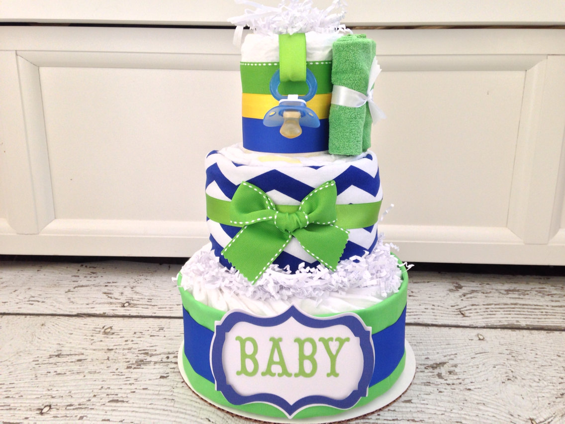 Lime Green and Blue Baby Shower Cake