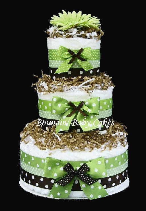 Lime Green and Brown Baby Shower Cake