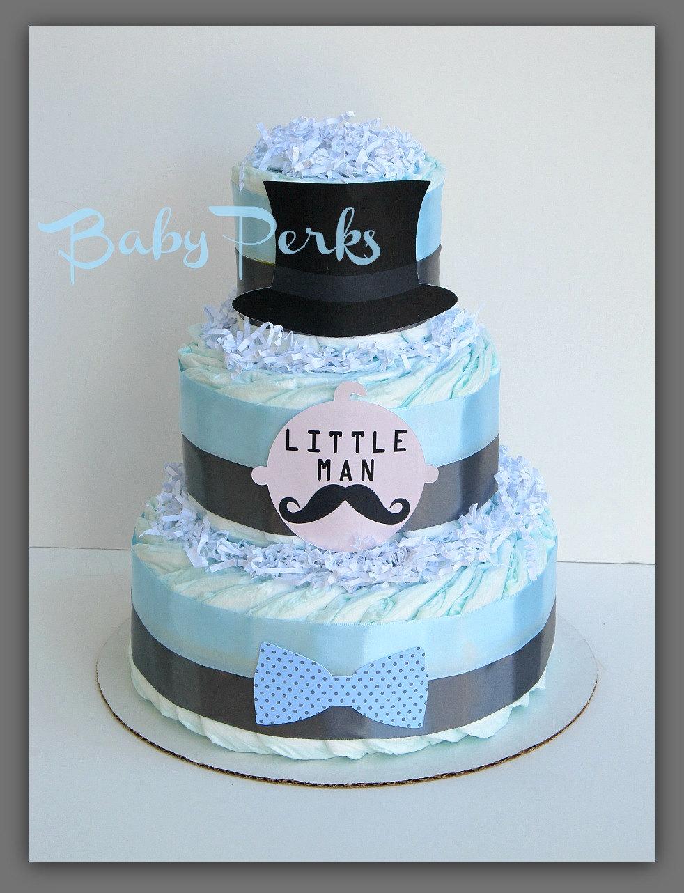 Little Man Mustache Baby Shower Cake