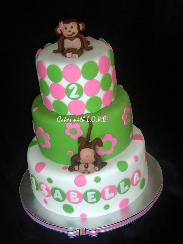 Mod Monkey Girl Birthday Cake