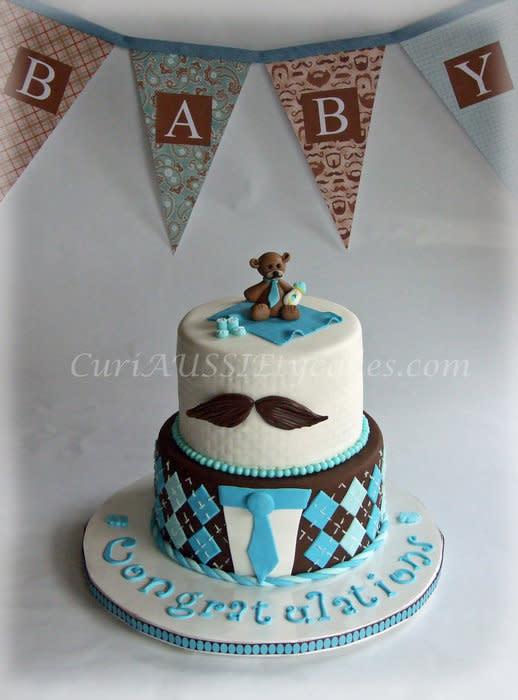 Mustache Theme Baby Shower Cake