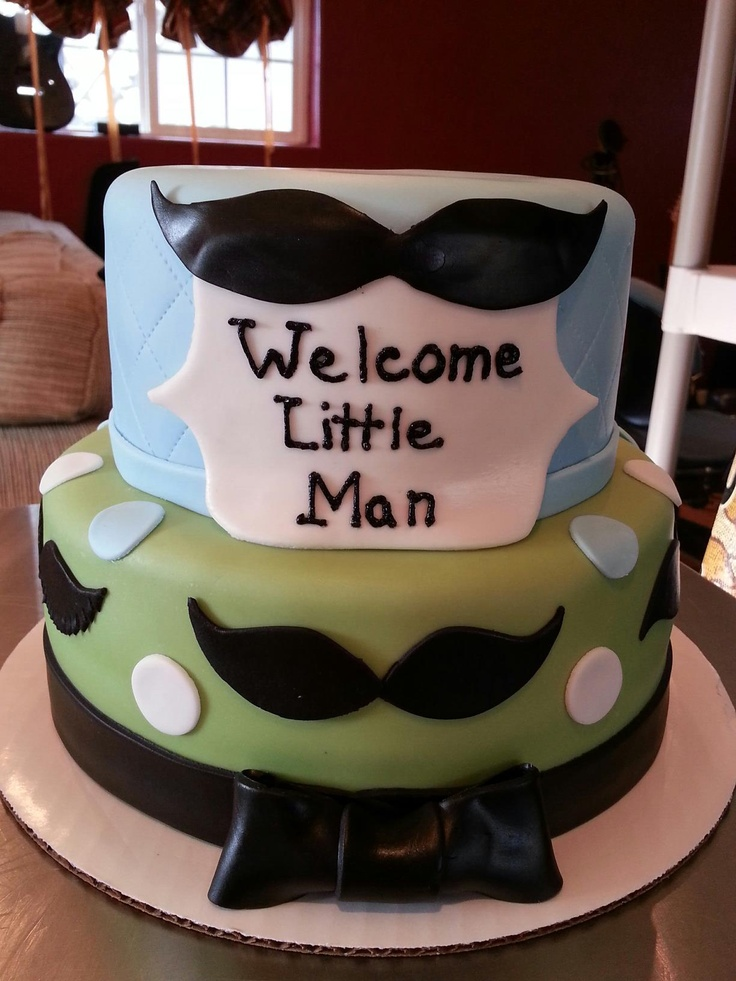 13 Photos of Mustache Themed Baby Shower Cakes