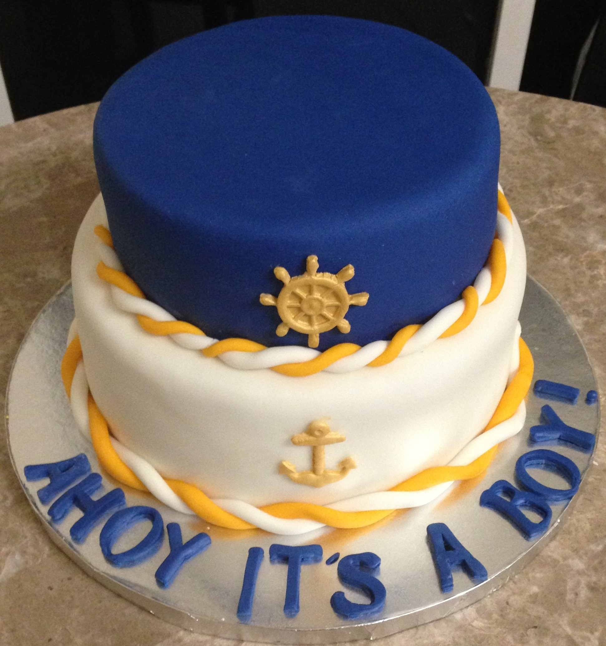 8 Photos of Nautical Baby Cakes