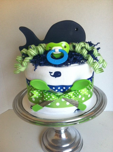 Navy Blue and Lime Green Baby Shower Cakes