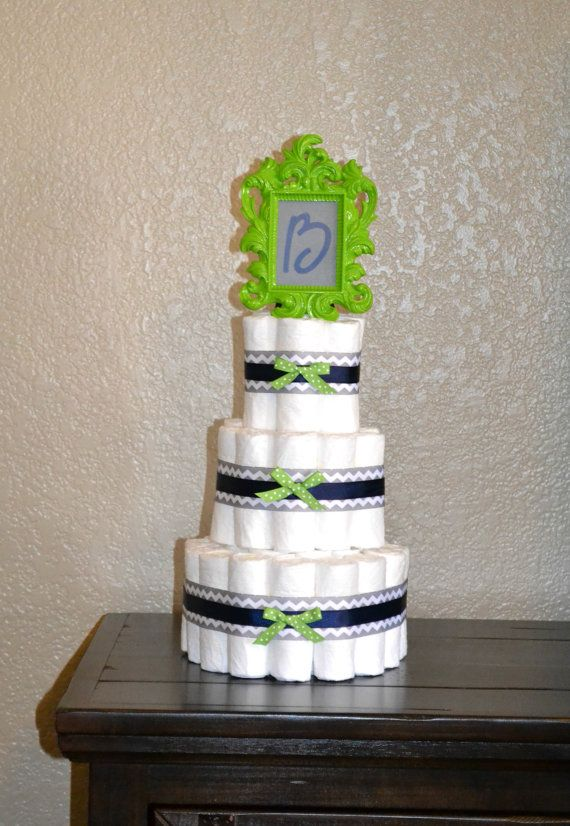 Navy Blue and Lime Green Diaper Cake