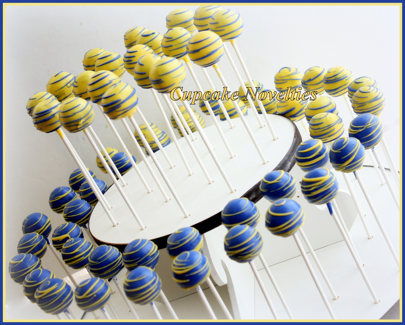 Navy Blue and Yellow Cake Pops