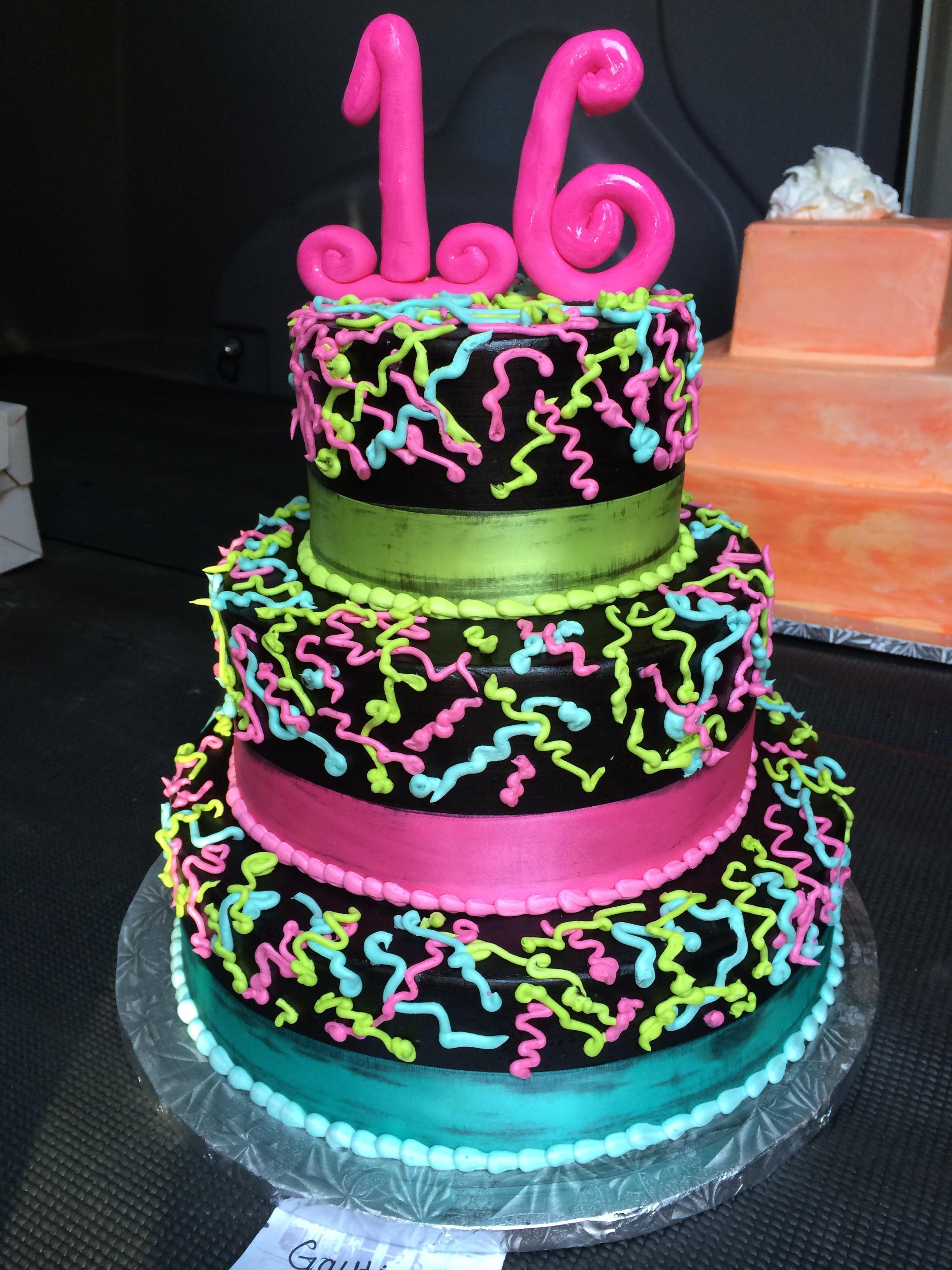 Neon Sweet 16 Birthday Cakes