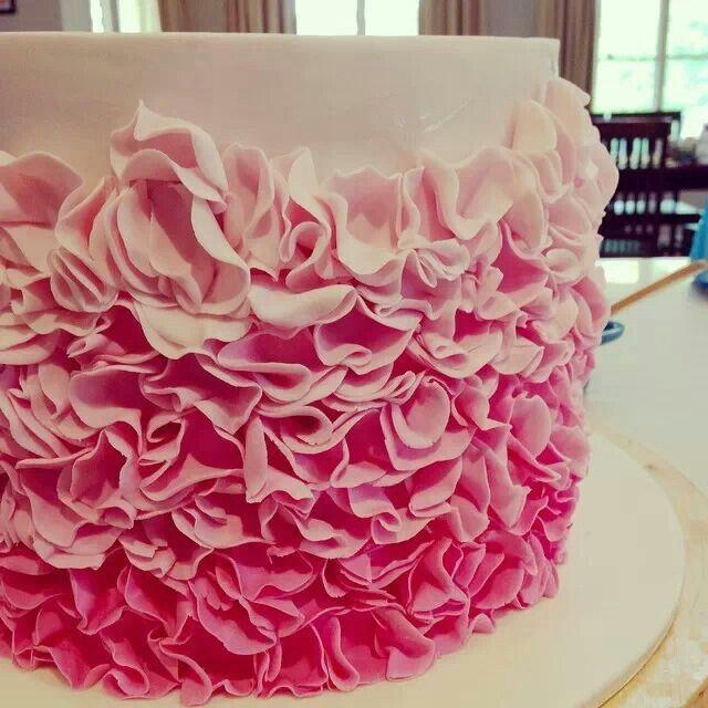 Ombre Fondant Ruffle Cake
