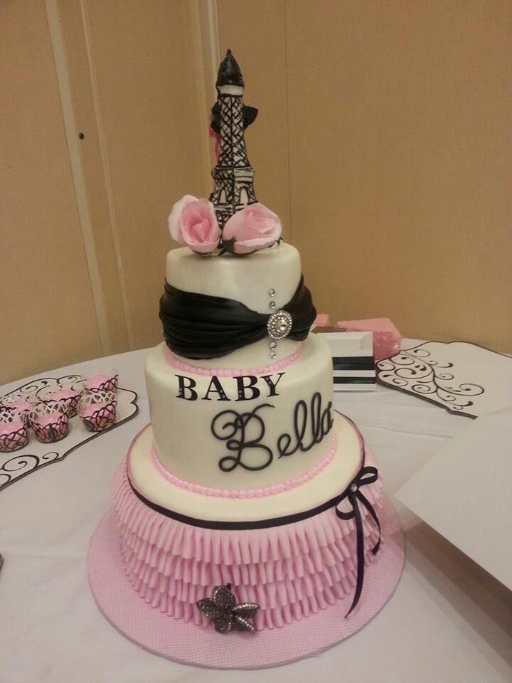 Paris Baby Shower Cake