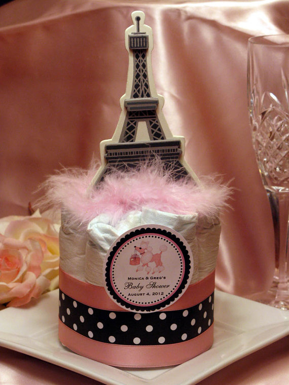 Paris Theme Baby Shower Diaper Cake