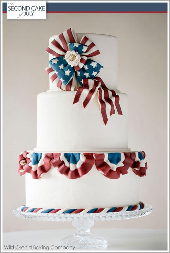 Patriotic Vintage Bunting Cake