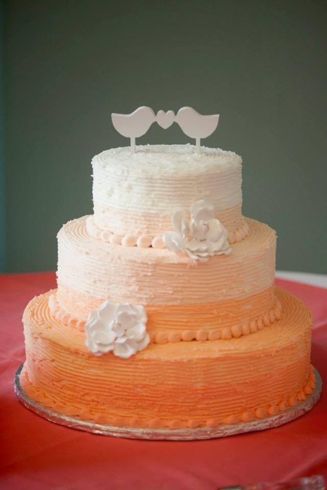 Peach Rustic Wedding Cake