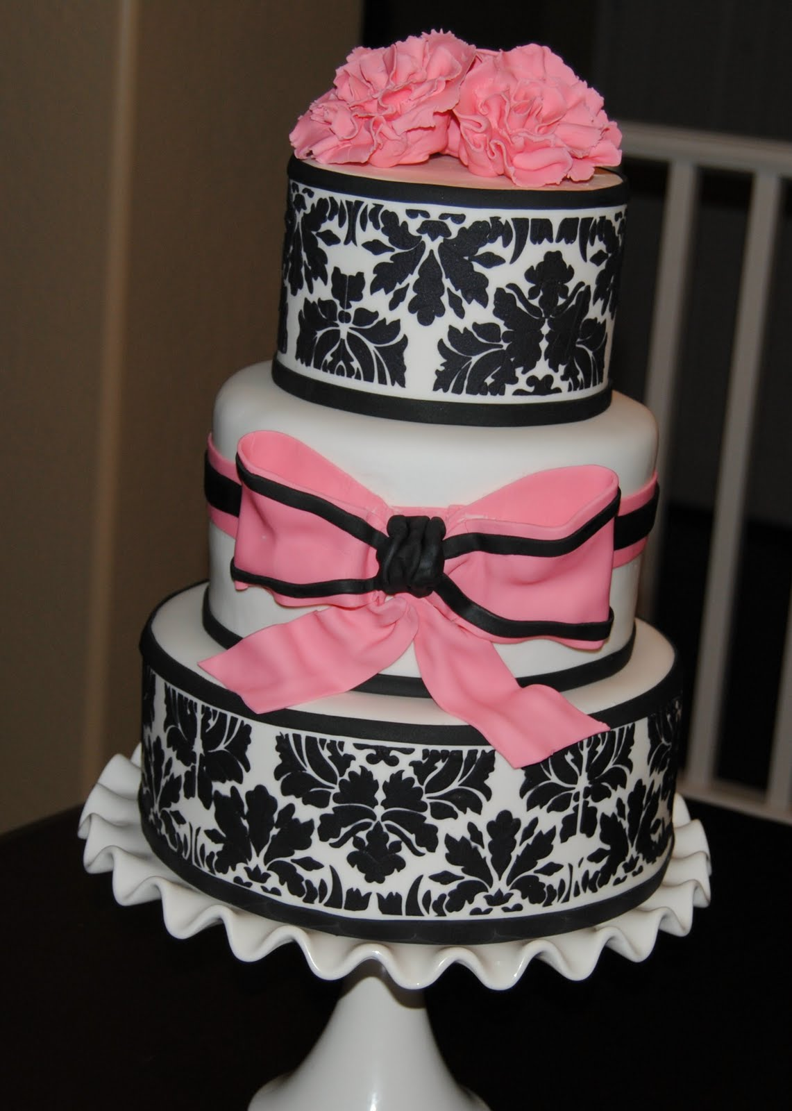 Pink and Black Damask Baby Shower Cake