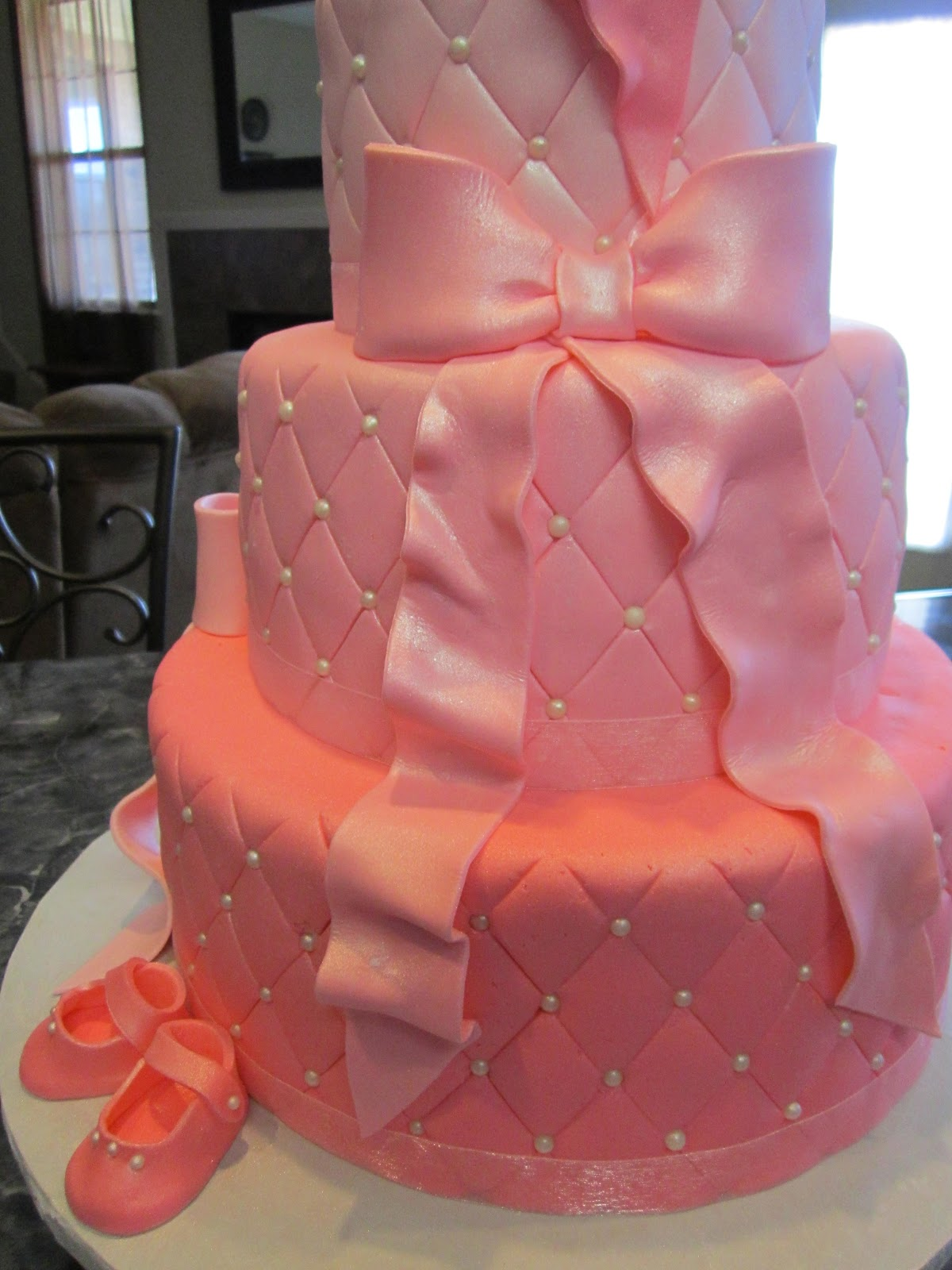 Pink Baby Shower Cakes with Pearls
