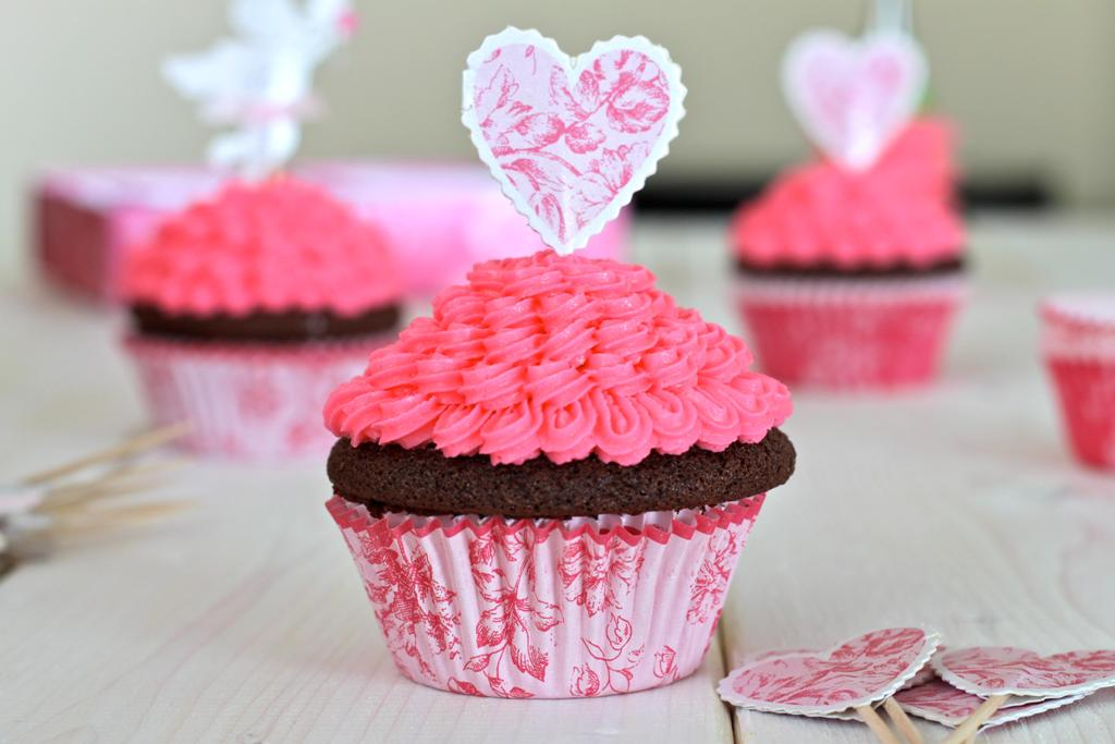 Pink Cupcakes with Chocolate Icing