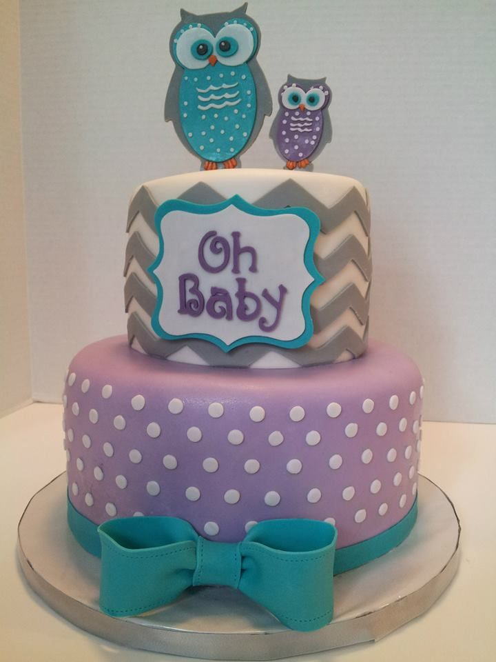 Purple and Grey Baby Shower Cake
