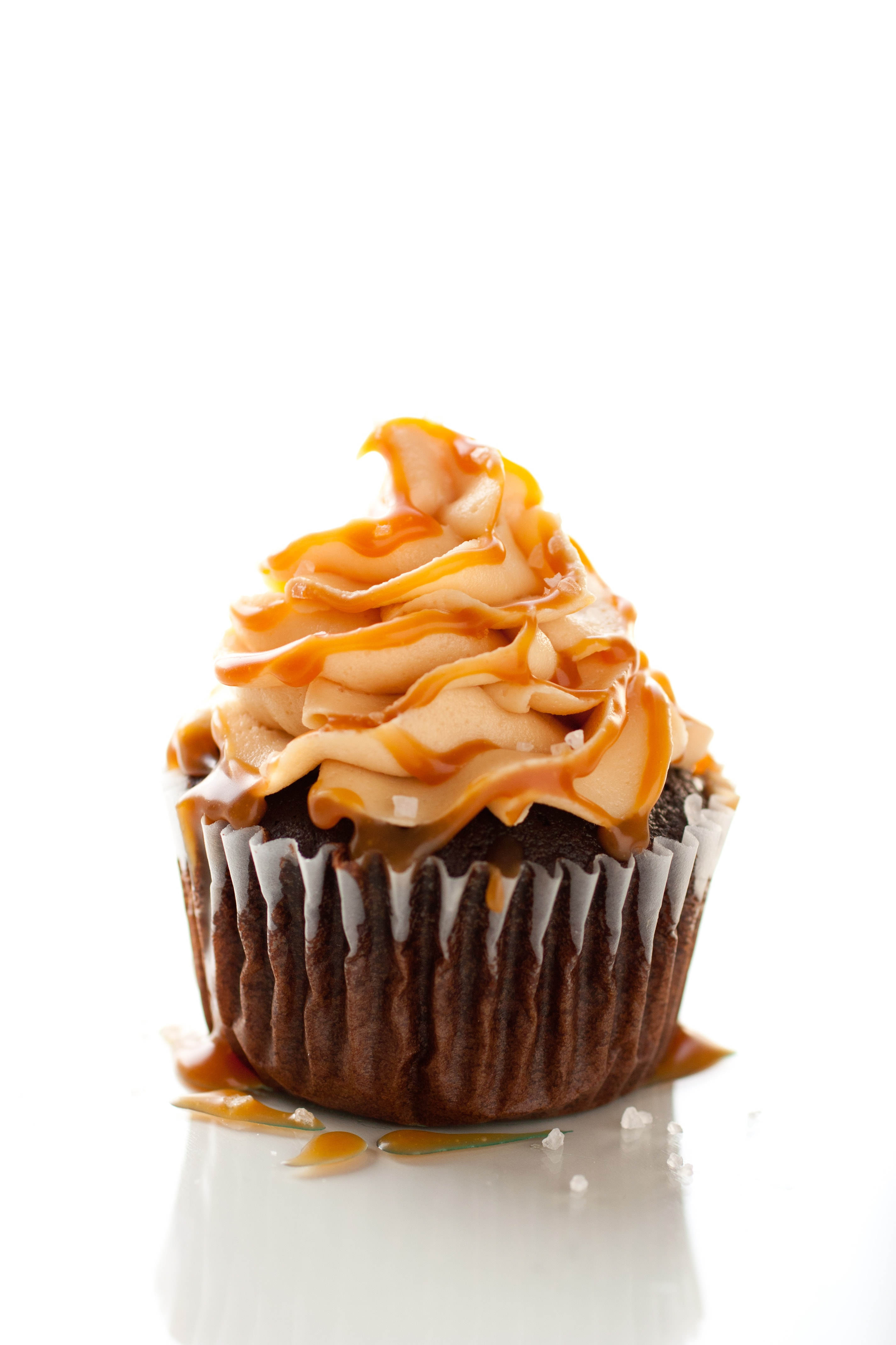 Salted Caramel Cupcakes with Chocolate Frosting