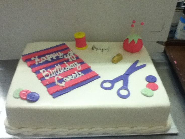 Sewing Theme Birthday Sheet Cake