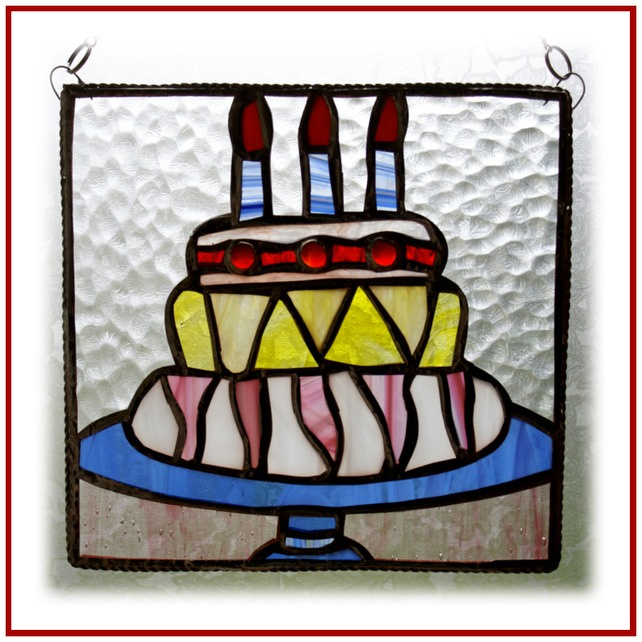 Stained Glass Happy Birthday Cake