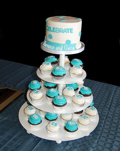 Tiffany Blue Birthday Cake and Cupcakes