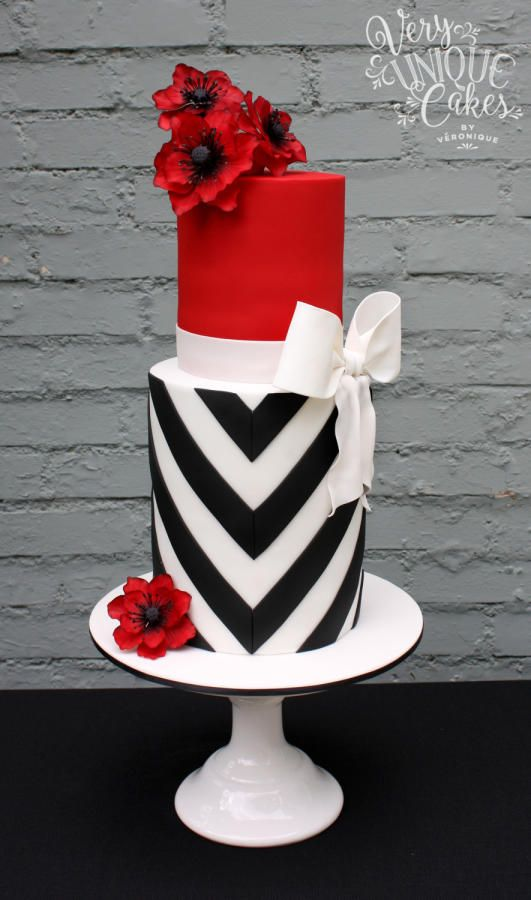 Unique Wedding Cake Red and White