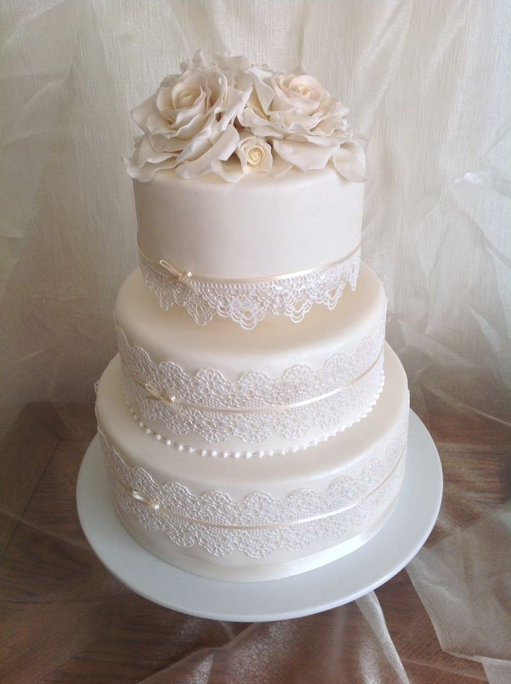 Wedding Cake with Edible Lace